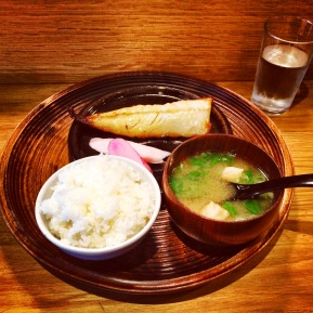Yakizakana - Grilled Hake, Miso Soup, Pickles and Rice
